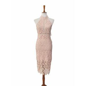 Bardot Womens Gemma Dress Halter Lace Pink Size 4